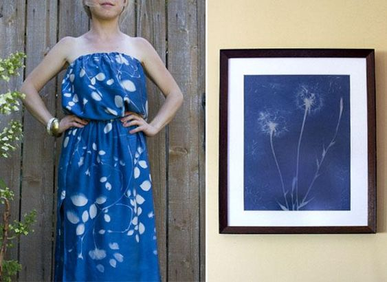 Make your own sun print fabric to turn into a gorgeous dress.