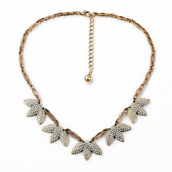 Pave pearl feather necklace