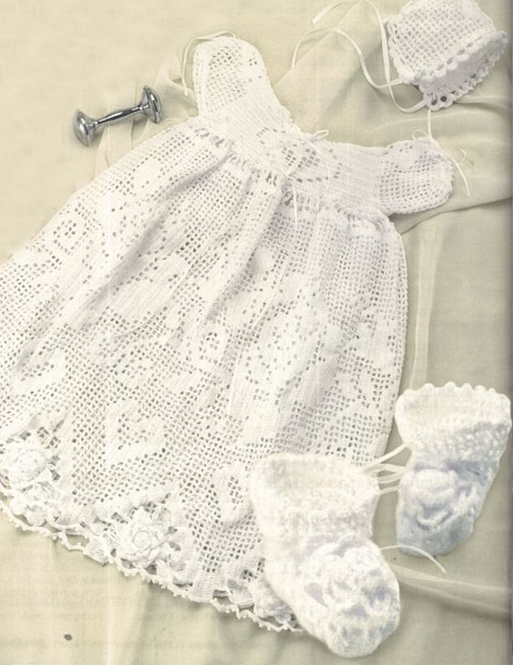 Crochet Baby Dress And Bonnet Pattern : Crochet Baby Christening Dress Baptism Baby Gown Dress ...