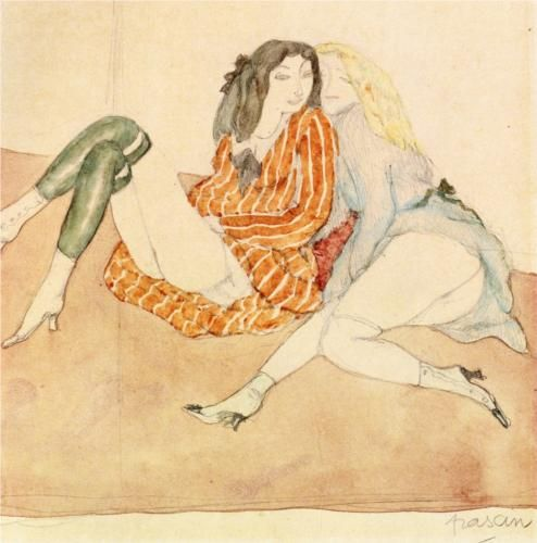 Two Girls on the Ground - Jules Pascin