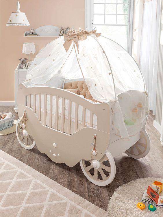 I want this cute baby carriage crib for my baby kids for Baby cot decoration ideas