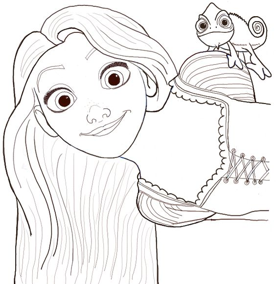 How To Draw Rapunzel And Pascal From Tangled With Easy