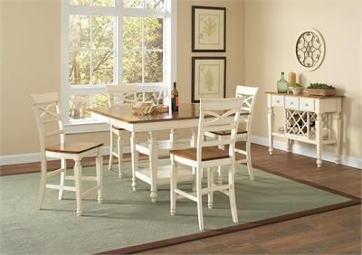 5 Pc Ashley Collection White And Oak Finish Wood Country Style Counter Height Pedestal Dining Table Set With Top Seats