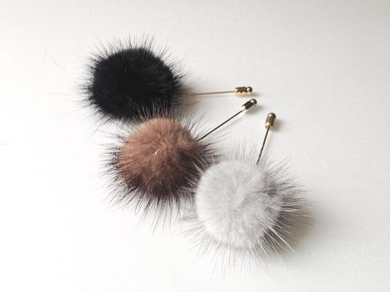 FOX Mink fur balll Mens Flower Boutonniere / by petallike on Etsy, $18.00