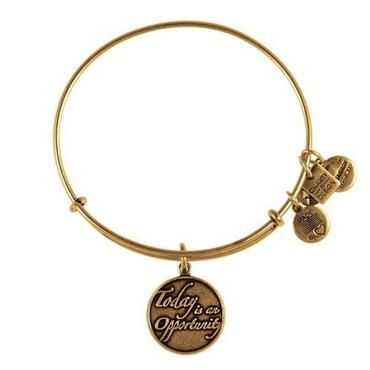 Alex and Ani Today is an Opportunity Charm Bangle Bracelet - Rafaelian Gold Finish - Item 19289693