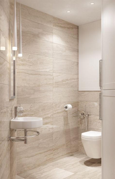 A Modern Bathroom Done In Beige And Tan And Touches Of White With Porcelain Tiles Beige Tile Bathroom Modern Bathroom Tile Modern Bathroom Design