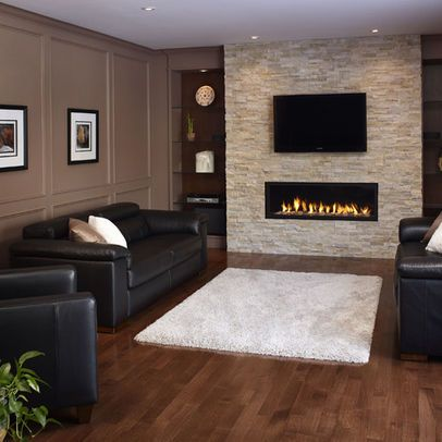 Stone fireplace with TV overhead - Decoist | Family Room Fireplace ...