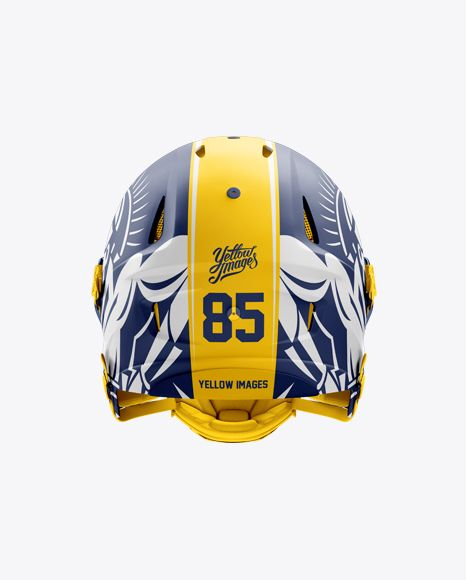 Matte American Football Helmet Mockup Back View In Apparel Mockups On Yellow Images Object Mockups Football Helmets Design Mockup Free Mockup Free Psd