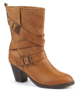 Tan Leather Buckle Boots