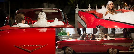 church wedding vintage car red chevy traveling in style retro 50s bridal fun