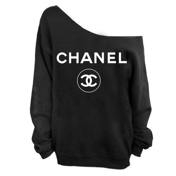 chanel sweatshirt slouchy cc women sweatshirt coco chanel s 3xl on etsy fashion. Black Bedroom Furniture Sets. Home Design Ideas
