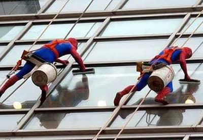 I love this! Window washers at the Evelina Children's Hospital in London dress like superheroes!