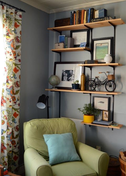 Open shelving industrial and adjustable shelving on pinterest - Open shelving living room ...