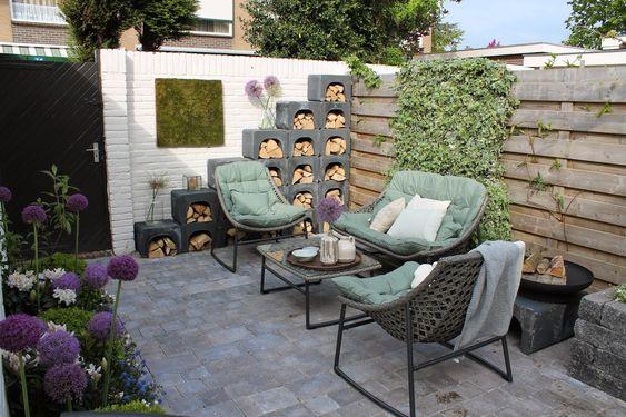Trommelsteen kleur grijs zwart genuanceerd u elementen als houtopslag verhoging voor - Opslag terras ...