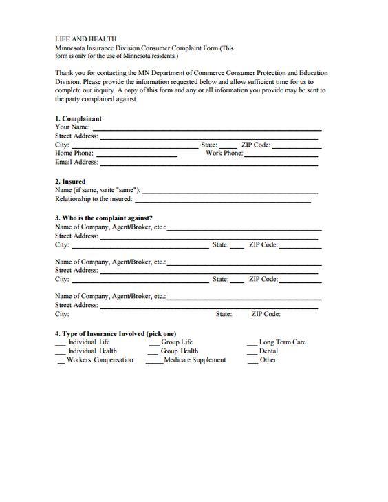 InsuranceCommissionerComplaintsByStateMinnesotaPartOf