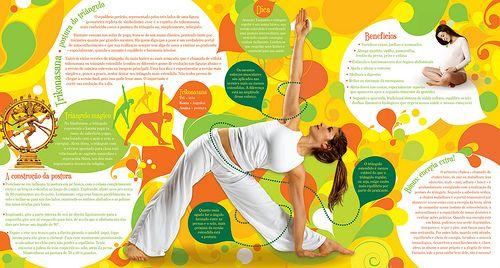 Een voorbeeld van een yoga folder: er vloeiend lijnen, oganische vormen en warme organische kleuren en jonge slanke meisjes die oefeningen laten zien.