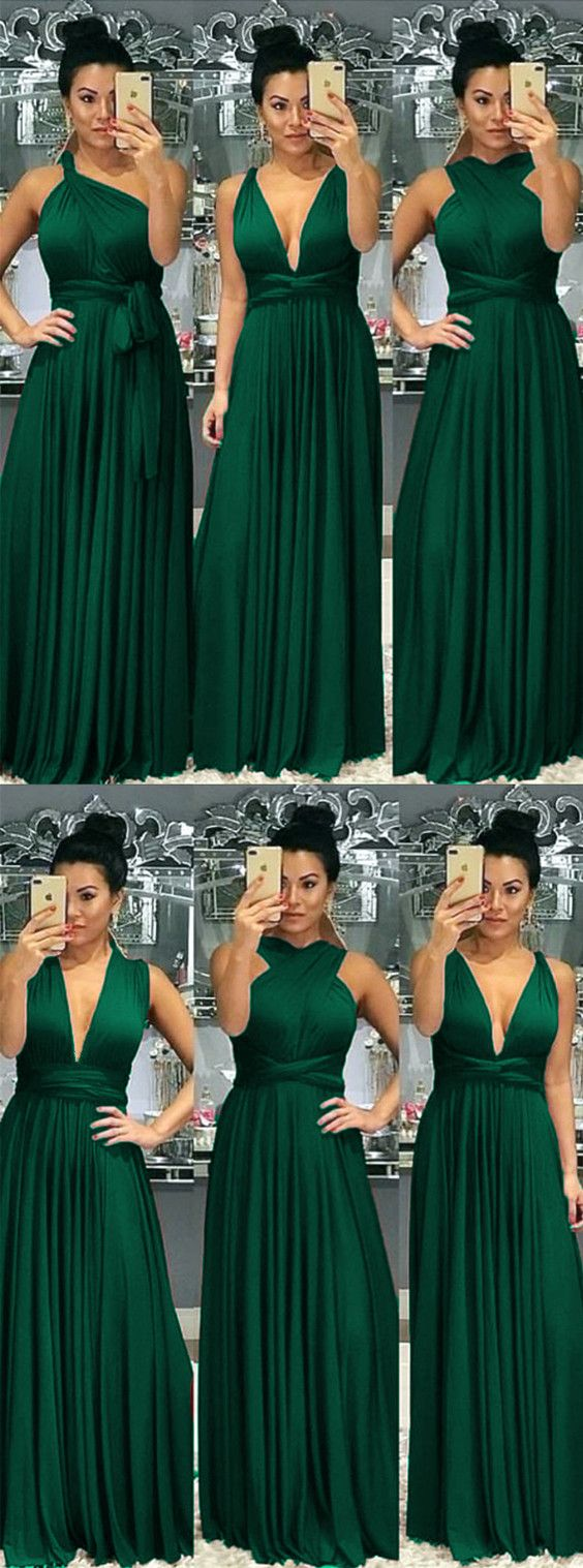 Floor Length Bridesmaid Dresses Convertible Style   Emerald ...