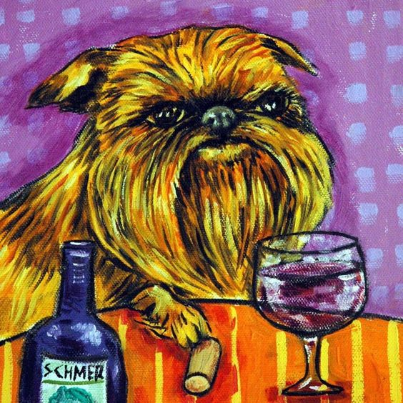 Brussels Griffon art painting dog art TILE coaster new gift JHSCHMETZ wine art