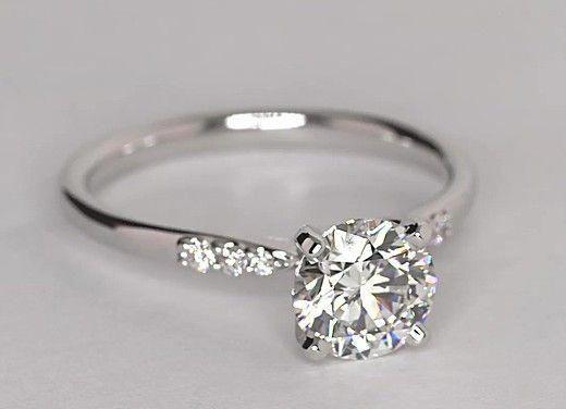 Petite Diamond Engagement Ring In 14k White Gold 1 10 Ct Tw Diamondweddingrin White Gold Engagement Rings Diamond Engagement Rings Unique Engagement Rings