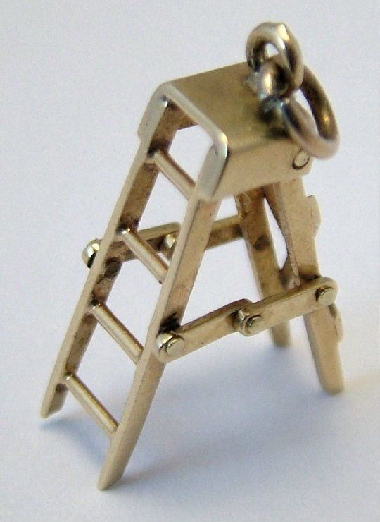 1950's gold fully working step ladder charm.: