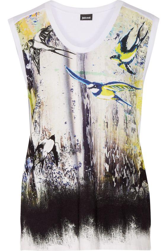 JUST CAVALLI Printed Stretch-Jersey Top. #justcavalli #cloth #top