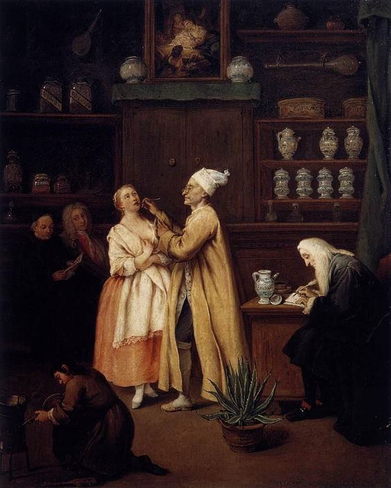 Longhi, Pietro - The Apothecary - Baroque - Oil on canvas. See: http://www.pinterest.com/pin/287386019945878526/