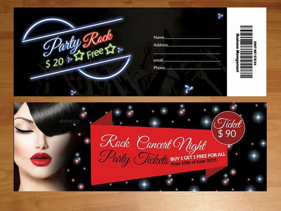 2 Party Tickets Template Ticket invitation, Invitations and Parties - party tickets templates