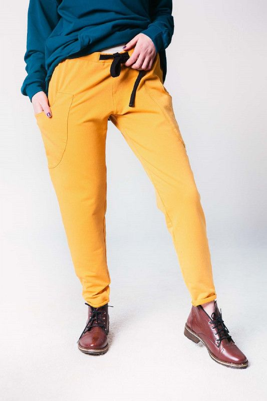 Spodnie Damskie Dresowe W Kolorze Musztardowym Pants Fashion