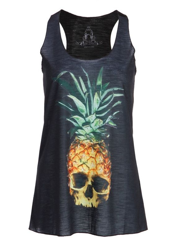 Womens Black Pineapple Skull Loose Fit Muscle Tee Tank Top - Size Small