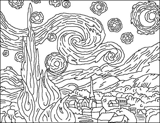 Van Gogh Starry Night Coloring Page Starry Night Van Gogh Van Gogh Coloring Van Gogh