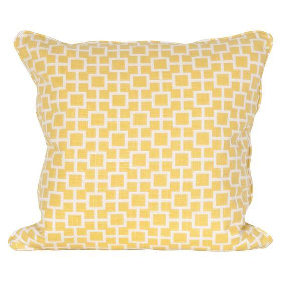 Yellow Fretwork Pillow