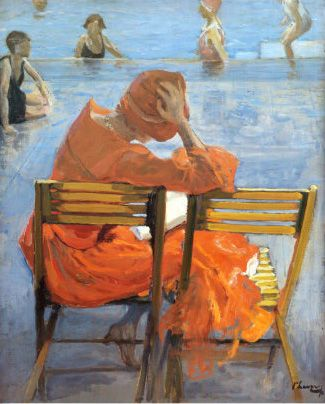John Lavery (Irish Painter, 1856-1941) Girl in a Red Dress Reading by a Swimming Pool: