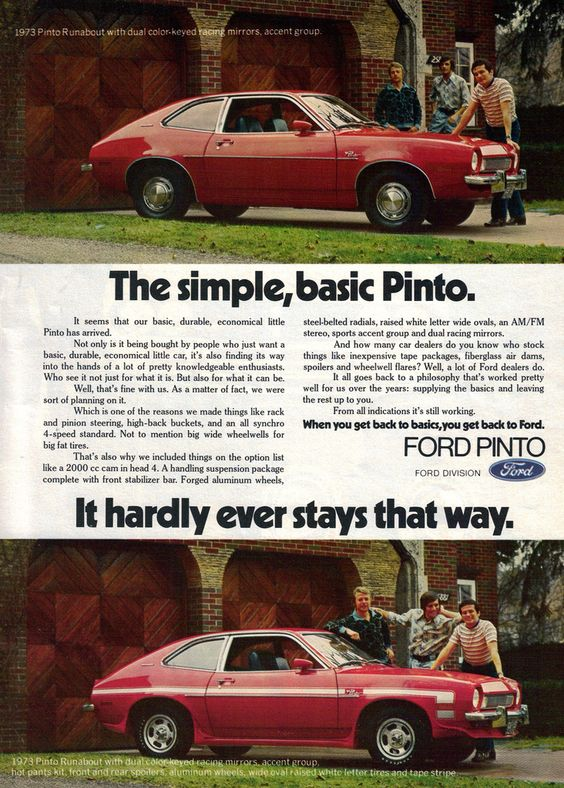 "Ad showing the ""versatility"" of the '73 Pinto, lol."