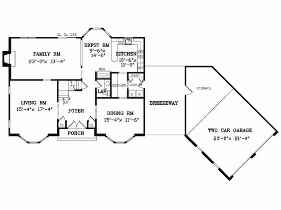 Angled Garage Family Room House Plans Home Floor A