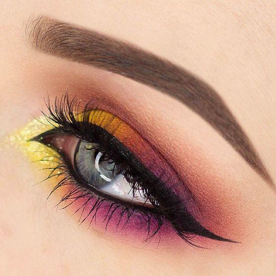 Makeup Geek Eyeshadows in Bitten, Chickadee, Lemon Drop, and Purple Rain. Look by: Rebecca Seals: