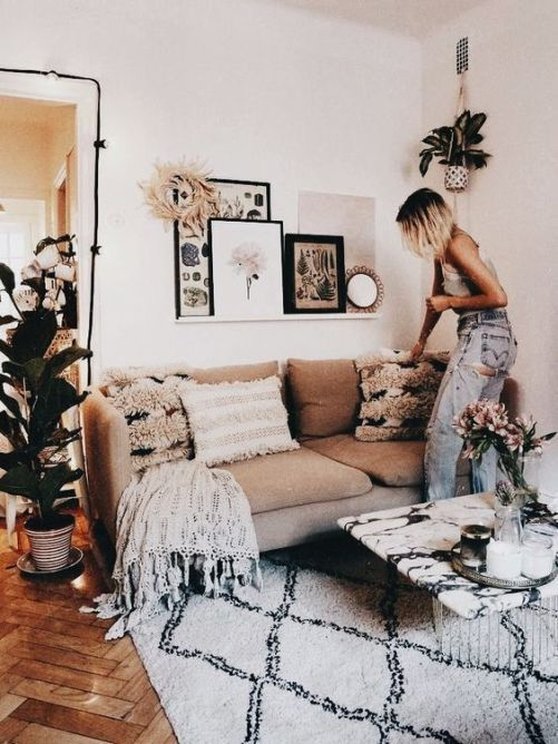30 Flat Decoration Ideas With High Street Design Aesthetic Flat Decor White Living Room Apartment Living Tan couch living room decor