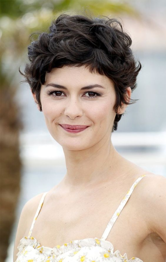 Outstanding Audrey Tautou Curly Pixie Haircuts And Curly Hair On Pinterest Hairstyles For Women Draintrainus