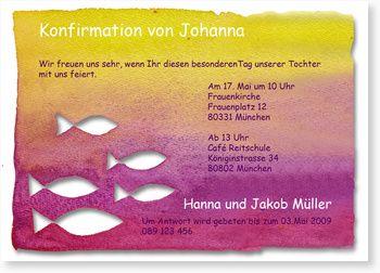 Konfirmationseinladung mit Fischen für Mädchen