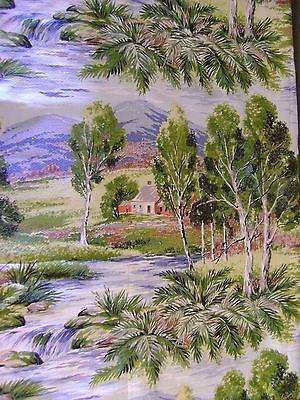 Vintage-Cottage-Barkcloth-Textured-Drape-Panel-Fabric-Outdoor-Scene