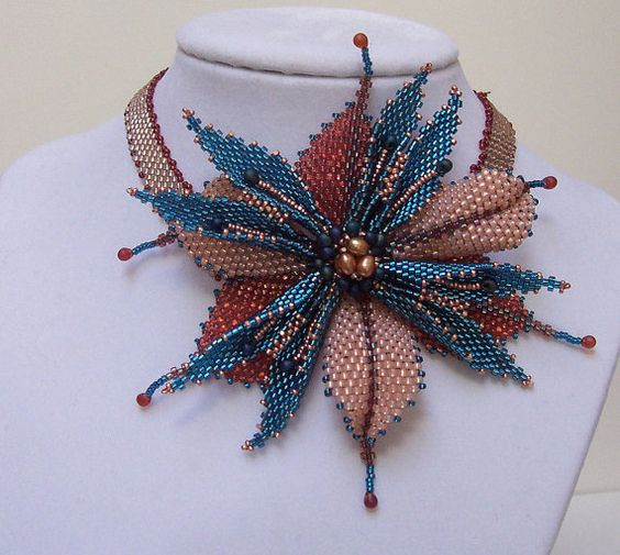 Diagonal Peyote Floral Choker in Teal and Peach with freshwater pearls  Want something a bit striking and dramatic? This peyote choker is just the