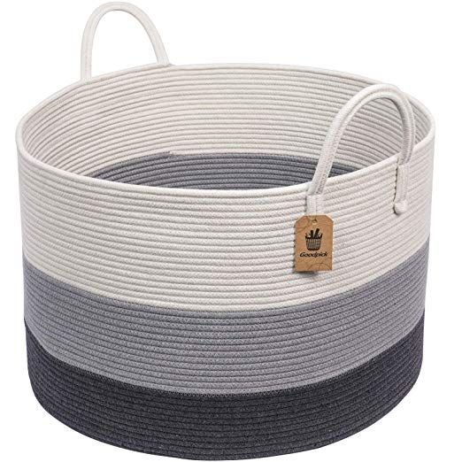 Amazon Com Goodpick 17 8 X 15 8 X 13 8 Gray Baby Laundry Basket Thread Cotton Rope Basket Toy With Images Baby Laundry Basket Blanket Basket Woven Laundry Basket