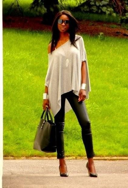Flowy top and skinny leather pants   #MakeYourOwnJeans #CustomMade #LeatherPants