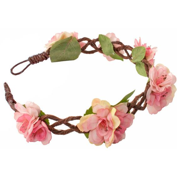 Amie Floral Blossom Garland ($27) ❤ liked on Polyvore featuring accessories, hair accessories, pink flower crown, flower crown, pink garland, crown headband and flower garland headband
