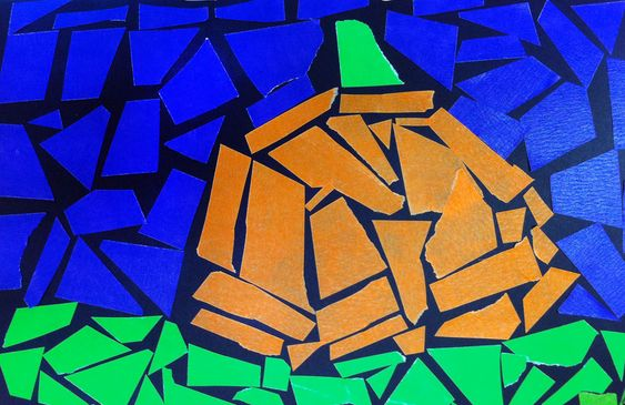 Art Projects for Kids: Mosaic Tape Pumpkin: