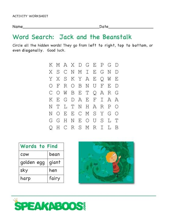 Word Search Jack And The Beanstalk Speakaboos