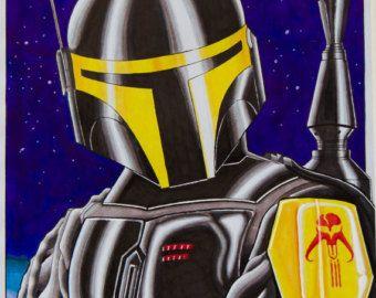 Star Wars fan art coasters Bobba Fett by CozyKuties on Etsy