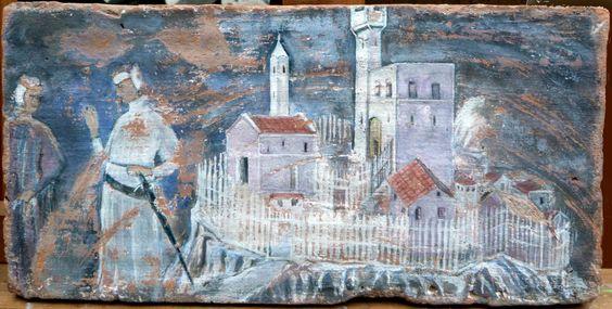 Forse: Duccio di Buoninsegna o Simone Martini - Forse: La presa di Giuncarico, liberamente riprodotto su mezzana toscana - Piero Petillo