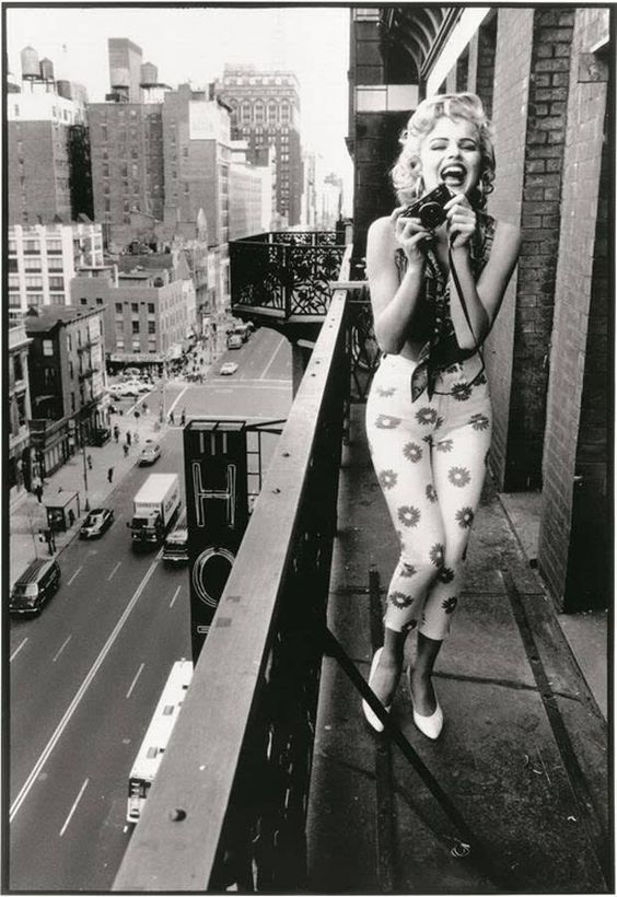 Often mistaken for being a vintage photo of Marilyn, this is actually model Eva Herzigova, in a 1992 Guess ad photographed by Ellen von Unwerth.