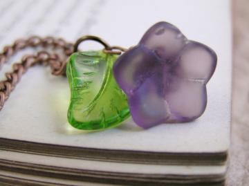 Purple glass Flower necklace. Victorian style handmade jewelry.  by TheAmethystDragonfly on Zibbet