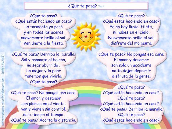 Me Encanta Escribir En Español Canción Qué Te Pasa Yuri Canciones Tiempo Meteorologico Español